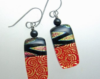 Red Skies at Night Dichroic Earrings, Handmade Fused Glass Jewelry
