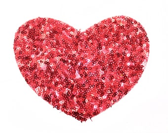 Red Heart Shape Patch Applique with Sequins - for Sew On - Glue On - Heat Iron Transfer