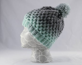 Aqua and Gray Ombre Crocheted Winter Hat, Puff Stitch Winter Beanie, Adult Size Unisex, Blue and Gray Slouchy Hat