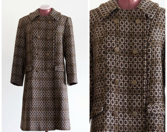 1960s brown and tan patterned double breasted overcoat