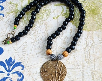 Peaceful Dragonfly Necklace - Natural Brass, Wood Beads, Antique Silver Beads