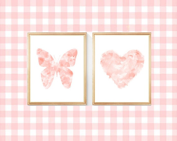 Blush Butterfly and Heart Print, Set of 2-8x10 Contemporary Girls Prints
