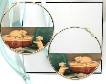Kitty Cat Earrings, Everyday Hoops, Kitten and Puppy, Casual Photo Jewelry, Dog Pattern Painting Print, Gold Extra Large