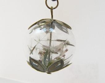 White Heather Necklace, Dandelion Seed Necklace, Dandelion Necklace, Make a Wish, Gift for Mom, Boho Wedding, Alternative Wedding Gift