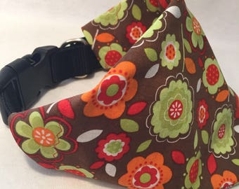 Flower Dog Collar Bandana, Bandana, Dog Bandana, Fall Dog Collar Bandana, L and XL