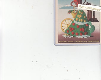 "Poster Style Sicilia Sun Head Fruit On Skirt, Ruins Tourist Continental  Postcard Unused 1950s 4"" X 6"""""