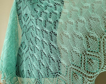 Beaded lace shawl hand knitted from pure linen yarn in mint color