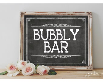 Instant 'BUBBLY BAR' Printable Sign Chalkboard Printable Party Decor Mimosa Table Bridal or Baby Shower Wedding Event Size Options