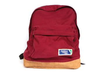 80s BACKPACK red canvas & LEATHER mountianeering daypack CLASSIC lightweight hiking biking bag