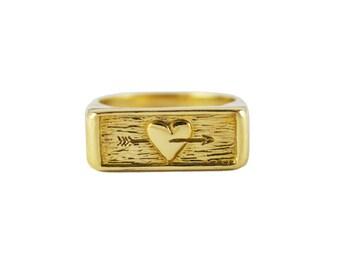 Folgen Sie Ihr Herz-Ring, Herz und Pfeil Ring, Abschluss Geschenke, Signet Ring, Ring, klobige Ring Pfeil Ring Herz, folgen Sie Ihren Träumen