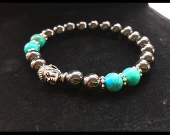 Hematite Buddha Head Bracelet Blue/Turquoise Gemstone Beads healing stones positive vibes