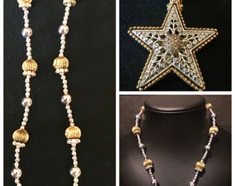 Western/Cowgirl Gold and silver, shiny, rhinestone necklace and magnetic star pendant