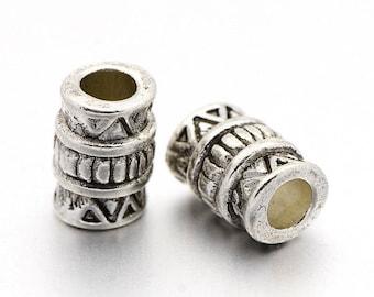 Perle tube intercalaire,style tibétain,métal argent antique,lot de 20