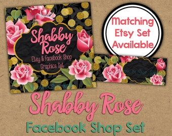Shabby Rose Facebook Timeline Set - Glitter Shop Banner - Rose Gold Timeline Cover - Profile Image - Glitter Rose Facebook Shop Set
