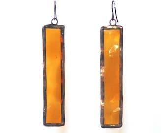 Stained Glass Earrings- Amber Glass Earrings