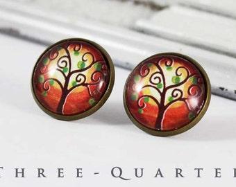 Studs, albero, annata, albero dei desideri, rosso, desiderio, rotondo, mattone di vetro, verde, tramonto, misticismo, magia, arte