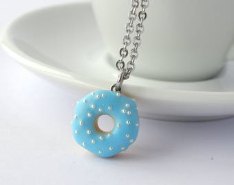 Miniature cute baby blue donut with silver sprinkles charm necklace pendant kawaii sweet silly food jewelry pastel blue donut