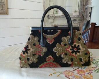 Vintage 60's Carpet Bag Purse with Leaf Design