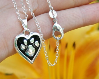 Pet Jewelry Sterling Silver .925 Pendant Necklace Paw Print Heart Charm Benefits Animal Rescue Dog Lover Love Cat Pets Pawprint Ladies Girls