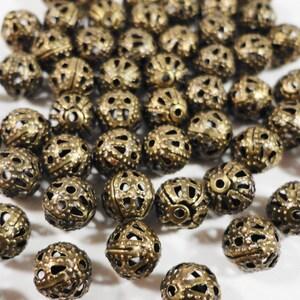 50pcs Bronze Metal Beads, 6mm Round Antique Brass Filigree Beads, Aluminum Beads, Lightweight Hollow Beads, Metal Spacer Beads, Loose Beads