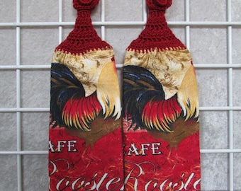 Pair of Rooster  Button-On Towels