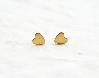 """REALLY Tiny Gold Heart Studs. Smaller than """"Tiny Gold Heart Stud Earrings"""". Simple Modern Jewelry"""
