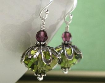 Bride Of Frankenstein, Sterling Silver Swarovski Crystal Earrings, olive purple earrings, drop earrings, lace earrings, dkjewels