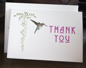 Thank You Cards - Anna's Hummingbird Arts & Crafts Style