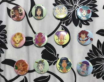 Zodiac Girls Pin-Back Buttons