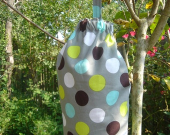 Plastic Grocery Bag Holder Grey with Black Turquoise Green Circles