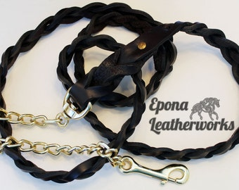 "Horse Lead Shank Braided -  20"" Chain 70"" Long - Brown Harness Leather - Epona Leatherworks"