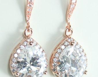 Bridal earrings,Rose gold bridal earrings,Rose gold teardrop earring,Bridal earrings,Bridal jewelry,Rose gold bridal jewelry,CZ earrings