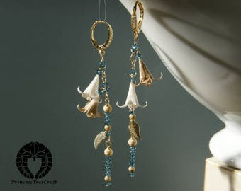 Origami earrings, Origami flower bouquet with London blue topaz