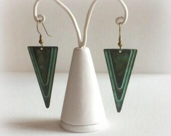 Art Deco earrings Verdigris