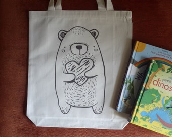 Bear Love Bag Natural Cotton Tote Bag