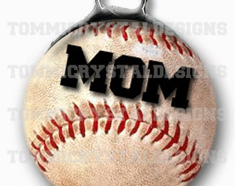 "1.5"" Baseball MOM Soldered Art Collage Charm (also comes with no wording)"