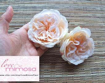 A pair of Peach Garden Roses Hair clips, Wedding Accessories, Wedding Hair Flowers