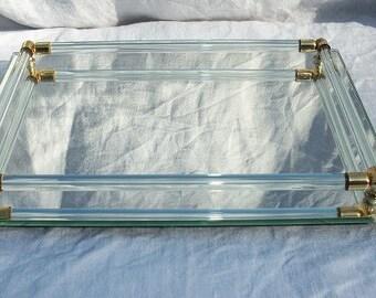 Vintage Beautiful 4 Sided Rectangle Dresser Mirror Vanity Mirror with Metal Rails