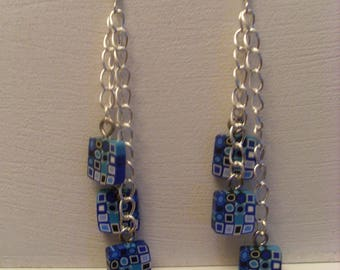 Earrings Silver earrings with chains and blue squares