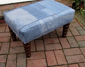 BLUE TARP repurposed industrial tarps patchwork- ottoman/bench/tuffet/furniture