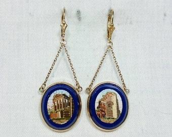 Micro Mosaic Roman Ruins Earrings, Italian Grand Tour Souvenir Jewelry, Antique