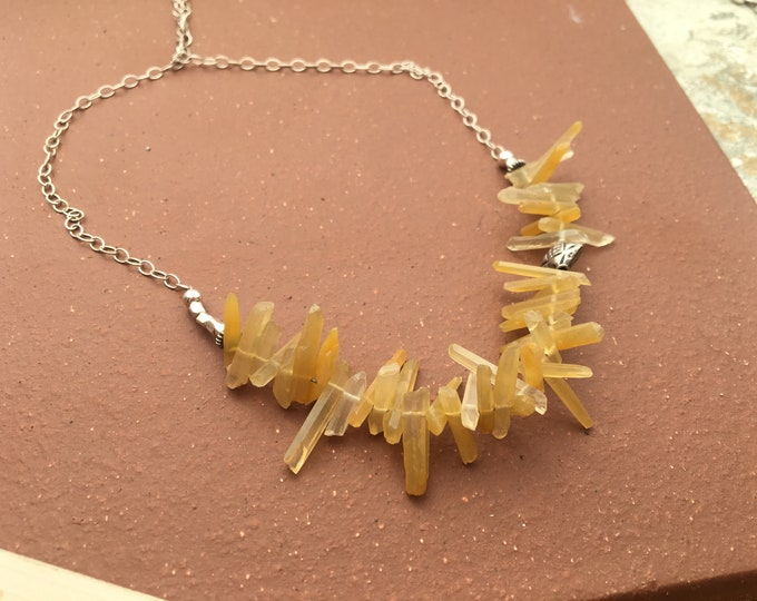Yellow Hematoid Quartz Points and Bali Silver and Sterling Silver Necklace Gift Talisman Good Luck Unique