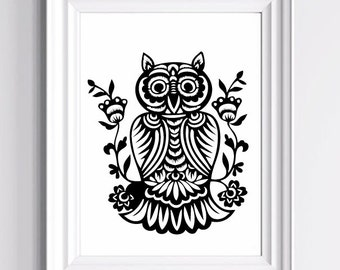 Owl Folk Art -  Art Print  - 16 x 20 or 20 x 30 in.