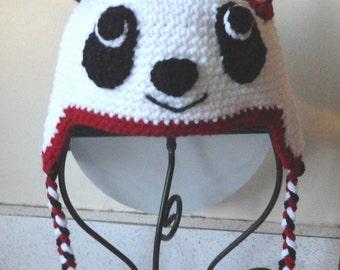 Panda Hat crochet with earflaps