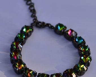 Swarovski Medium Vitral 8mm 15 crystal bracelet, adjustable w/extension and lobster clasp