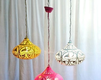 B268 Tin Mosaic Moroccan Lampshade Hanging Lamp White/Pink/Yellow