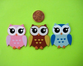 """Small Owl Wooden Ornaments Pink, Blue, Brown, 1 3/8 """" x 1 5/8"""" Baby Shower Favor, Safari / Jungle Themed,  12 pieces"""