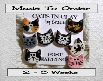 Pick Your Kitty Post Earrings Handmade To Order Just For You In Kiln Fired Clay by Gracie