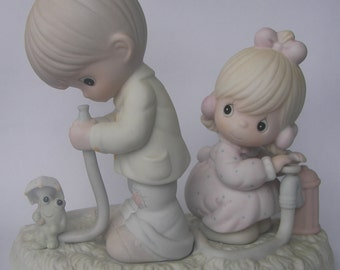 "Precious Moments ""There Shall Be Showers of Blessings"" Porcelain Figurine - Enesco - Vintage Collectible - 1989 - Retired - Fire Hydrant"