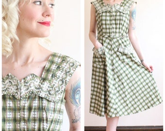 1950s Dress // Grass is Greener Day Dress // vintage 50s dress